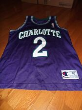 90S VTG LARRY JOHNSON CHARLOTTE HORNETS PURPLE CHAMPION USA JERSEY SIZE 40