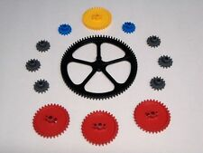"KNEX Gears: Large 5"" Black Crown Medium 2 1/4"" Red Yellow Small 1 Inch Gray Blue"
