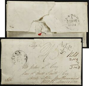 Scotland 1834 to Fredericton NB SFL Transatlantic Falmouth Packet via Halifax