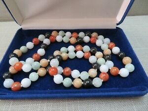 "Vintage Natural Multi Color Jade Bead Beads 9.3 MM Necklace 32"" / 108 Gram"