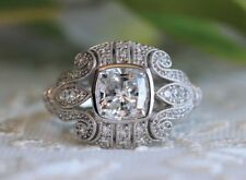 2.35 Ct Moissanite Cushion Cut Antique Wedding Engagement Ring 9K White Gold