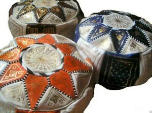Fair Trade Handmade Moroccan Leather Star Pouffe Beanbag Cover 7 Colours morocco