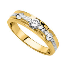 14k Two Tone Gold Cubic Zirconia Tapered Ladies Wedding Band