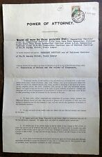 Malaya Power of Attorney document with Selangor $5.00 used 1951 Ӝ