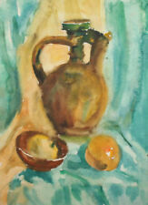 Vintage impressionist watercolor painting still life pitcher, bowl and fruit