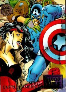 1994 Fleer MARVEL UNIVERSE Card Blood Ties #34 Captain America Sersi