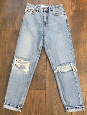 Topshop Moto Ladies Blue Ripped Mom Jeans Size 8 Petite W26 L28 Womens