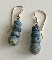 "Vintage Blue Sponge Coral Graduated Beads Drop Pierced Earrings 1.75"" Long"