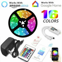16.4' 5050 RGB Waterproof LED Strip Light SMD Kit Bluetooth WiFi Phone Controll