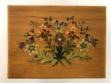 Spieluhr Schmuckkasten Holz Intarsien Italien Musikdose antik Blüten