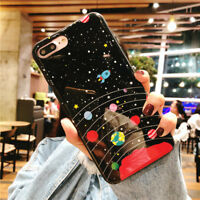 Cute Planet Alien Patterned Slim Soft Rubber Case Cover For iPhone X 8 7 6s Plus