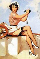 Capitaine Pin Up Girl Panneau Métallique Plaque Voûté Métal en Étain 20 X 30 CM