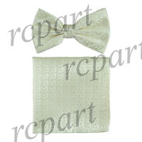 Men's Pre-tied Bow Tie & hankie set patterned ivory wedding party prom