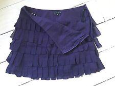 Warehouse Silk Skirt Size UK 8 Ruffled Design In Deep Purple