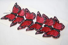 Real Feather Clip on Butterflies -Red x 6 Wedding Party Home Craft