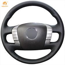 Black Genuine Leather Steering Wheel Cover Wrap for Volkswagen Phaeton 2011-2015