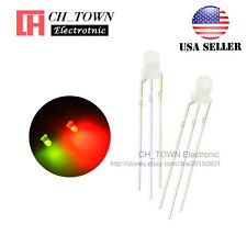 100pcs 3mm 3Pin Common Anode Diffused Bi-Color Red Green Light Led Diodes USA
