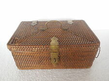 Vintage Fine Unique Hand Knitted Bamboo Stick Woven Basket / Box