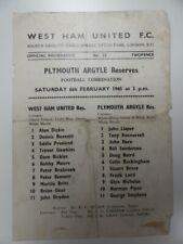 More details for west ham united v plymouth arg | 1964/1965 | reserves | 6 feb 1965 | uk freepost