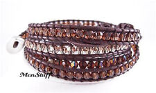 Chan LUU Brown Swarovski Crystal Mix Wrap Bracelet NEW