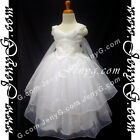 #PB9 Flower Girl Formal Pageant Dresses Gown White 3 4 5 6 7 8 9 10 11 12 13 14