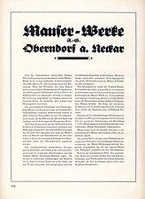 Fusil Mauser fábrica obras Obemdorf publicitarias 1926 historial de pistola de armas rifle