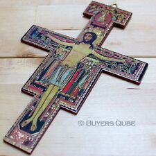 "Inspirational San Damiano Wall Crucifix Cross 8"" H Wood"