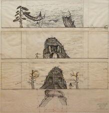 Radu Boruzescu dessin encre sur papier calque signé 1979 Manfred