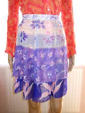 Womens Vtg Casual Formal Chiffon Purple Floral Flare Ruff Sheer Skirt sz L B36