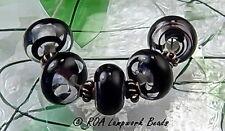 Roa Lampwork 5 Matte Black Handmade Art Glass 7 X 11 Mm Spacer Beads SRA