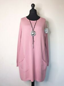 Italian Lagenlook Long Pink Tunic Jumper - UK Size 16 18 20