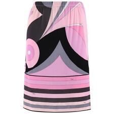 EMILIO PUCCI 1970s Pink Multicolor Geometric Striped Motif Silk Jersey Skirt
