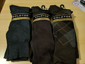 Lot of 9 Pair (3 Packs of 3) New mens gold toe socks 6-12.5 Brown Gray Argyle