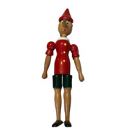 """Vintage Pinochio 12"""" Poseable Wood Doll by Tonna Omegna Made in Italy"""