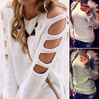 Womens Long Sleeve Pullover Cold Shoulder Knit Blouse Jumper Sweater Top Casual