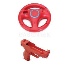 Plastic Mario Kart Racing Wheel + Vibration Pistol Gun for Nintendo Wii