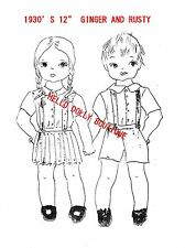 "1930'S 12"" GIRL & BOY COLTH DOLL PATTERN WITH CLOTHES"