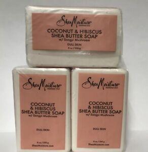 (3) Shea Moisture Coconut & Hibiscus Shea Butter Soap W/ Songyi Mushroom-8oz.