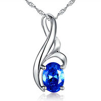 0.75Ct  Blue Sapphire Oval Cut Sterling Silver Pendant Necklace Gifts for Her