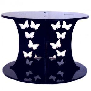 Butterfly Design Round Presentation Stand - Black