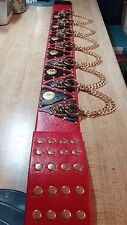 * ELVIS STYLE (RED & BLACK) Diamond Tour Belt {NEW 2pc. DESIGN} *