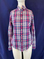 JACK WILLS Women 100% Cotton Checked Long Sleeve Logo Shirt. Size UK 10 Ladies