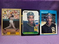 BARRY BONDS PITTSBURGH PIRATES 1987 TOPPS RC/DONRUSS RC/FLEER RC 3X ROOKIE LOT!!