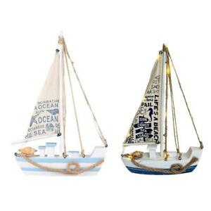 Wooden Miniature Sailing Boat Home Decor Set Navy Blue and White Home Decoration