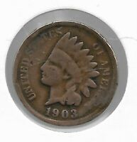 Rare Very Old Antique US 1903 Indian Head Penny USA Collection Coin Cent LOT:V55