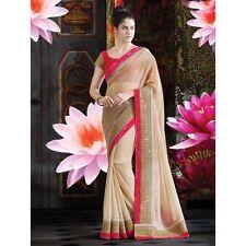 Exclusive Bordered Partywear Saree Fabric Georgette Sari Printed Blouse Saree