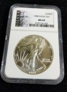 1988 Silver American Eagle Dollar NGC MS69