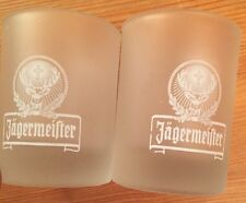(2) NEW Frosted Glass Jagermeister Shot Glasses 2cl