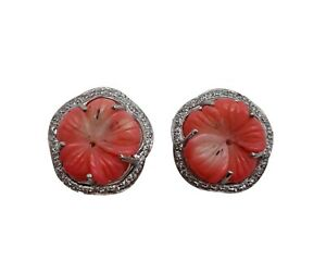 925 Solid Sterling Silver Labmade Coral Flower Earring Wedding Prom Gift for her