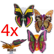 4 X BUTTERFLY ON FLOWER LED LIGHT SUCTION CUP NIGHT MOOD DECOR LAMP FAIRY GARDEN